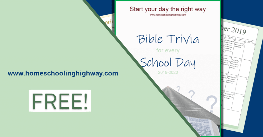 Free printable Bible trivia calendar for homeschool students