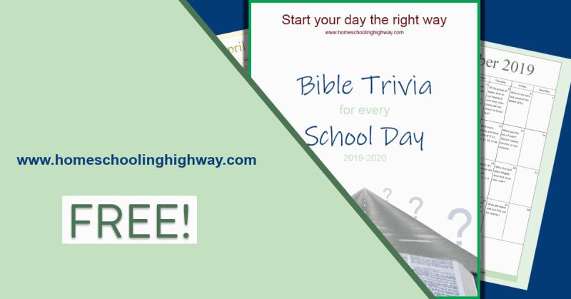 Free printable Bible trivia calendar for homeschool students