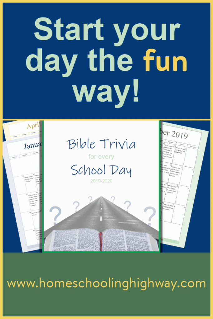 Free printable homeschool school calendar of Bible trivia