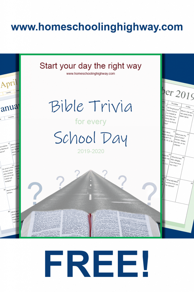 Free printable Bible trivia school calendar for homeschoolers