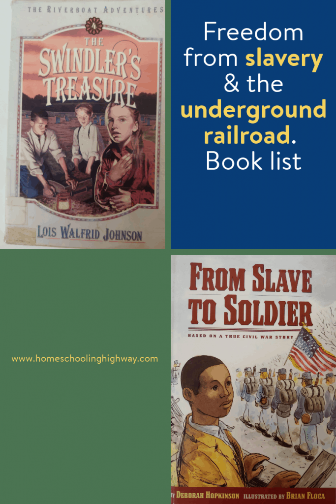Pictures of book covers from stories about the underground railroad and freedom from slavery