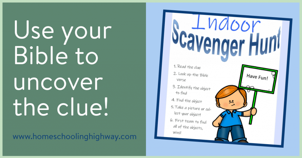 A Fun indoor scavenger hunt list for kids. Get practice finding the references in your Bible to uncover the clues.