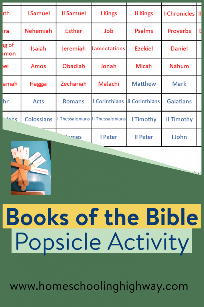 Green background with text that reads, Books of the Bible popsicle activity