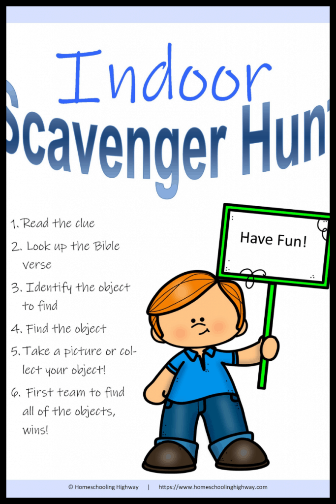 smiling cartoon boy holding a sign that says have fun. Text reads Indoor Scavenger hunt, use your Bible to uncover the object to hunt for