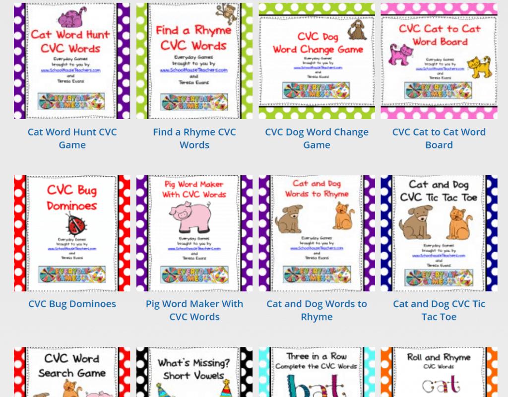 game thumbnail images for schoolhouseteachers.com reading classes