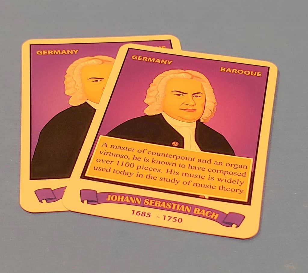 A pare of composer cards in Bryon's Game, Maestro Mastery - Explore the Composers