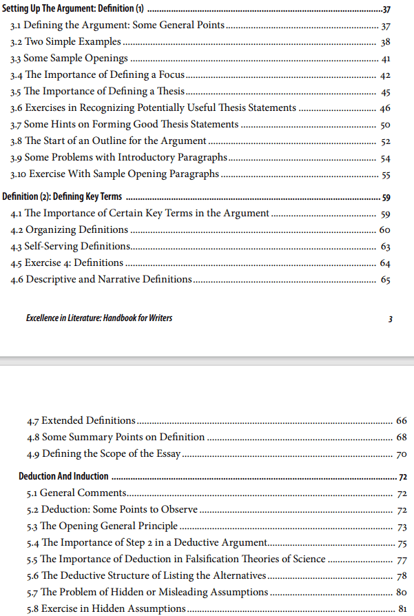 Table of Content screenshot of Part One of Excellence in Literature Handbook for Writers