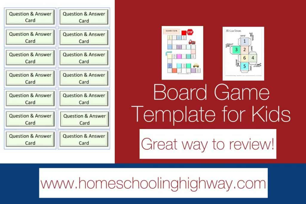 Board game template for kids