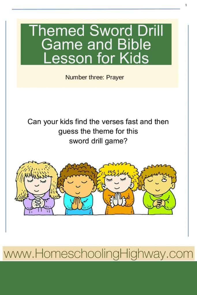 Bible sword drill and Bible lesson for kids