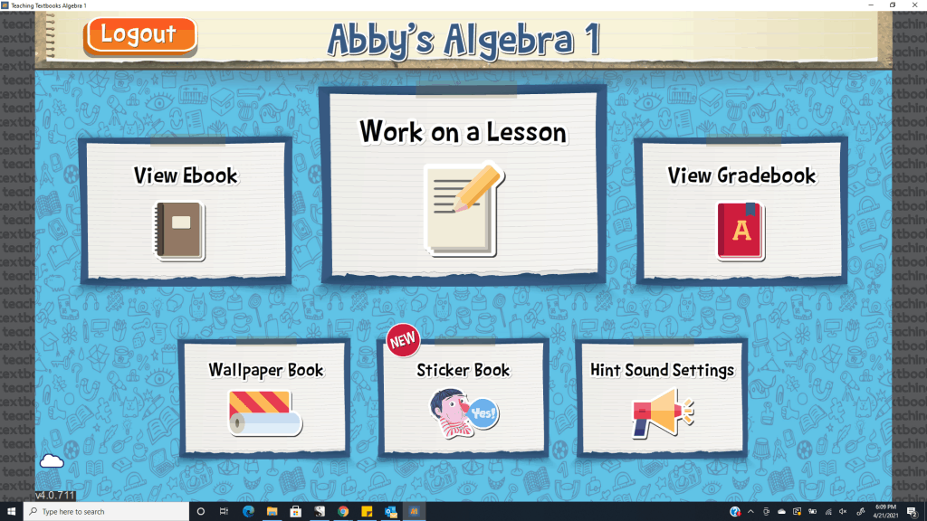 Student home page for Teaching Textbooks' Math 4.0