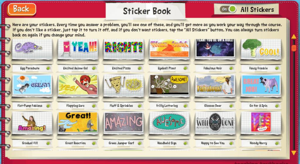 Sticker choices for Teaching Textbooks' Math 4.0