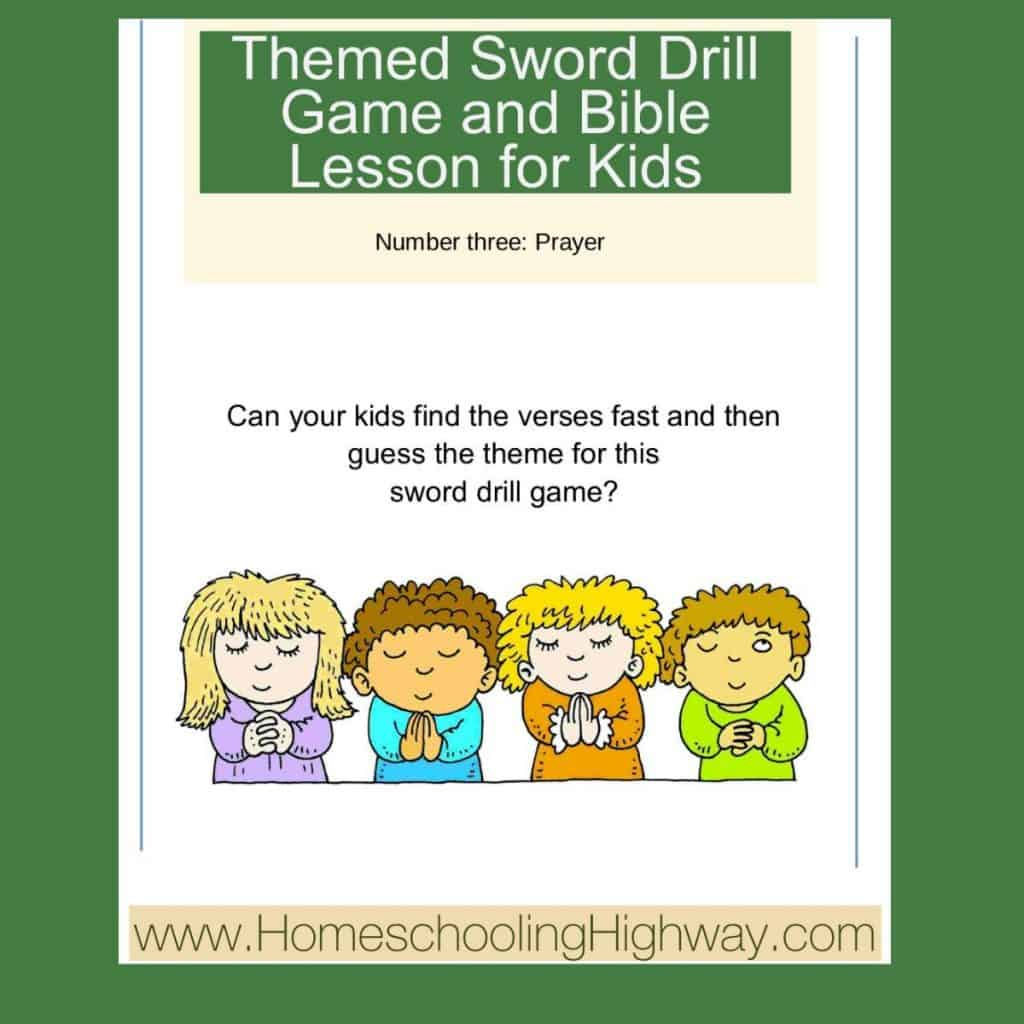 Themed Bible Sword drill game for kids