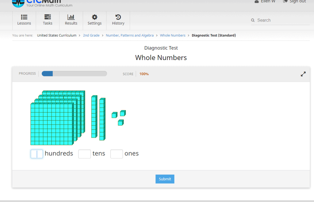 Screen picture of a math problem on CTCMath