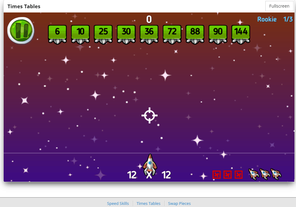 Shoot em Up Game screen on CTCMath