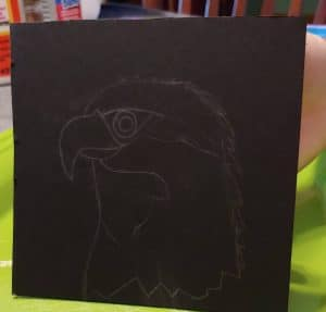 Drawing of eagle for the mosaic project from Creating a Masterpiece Art History Program