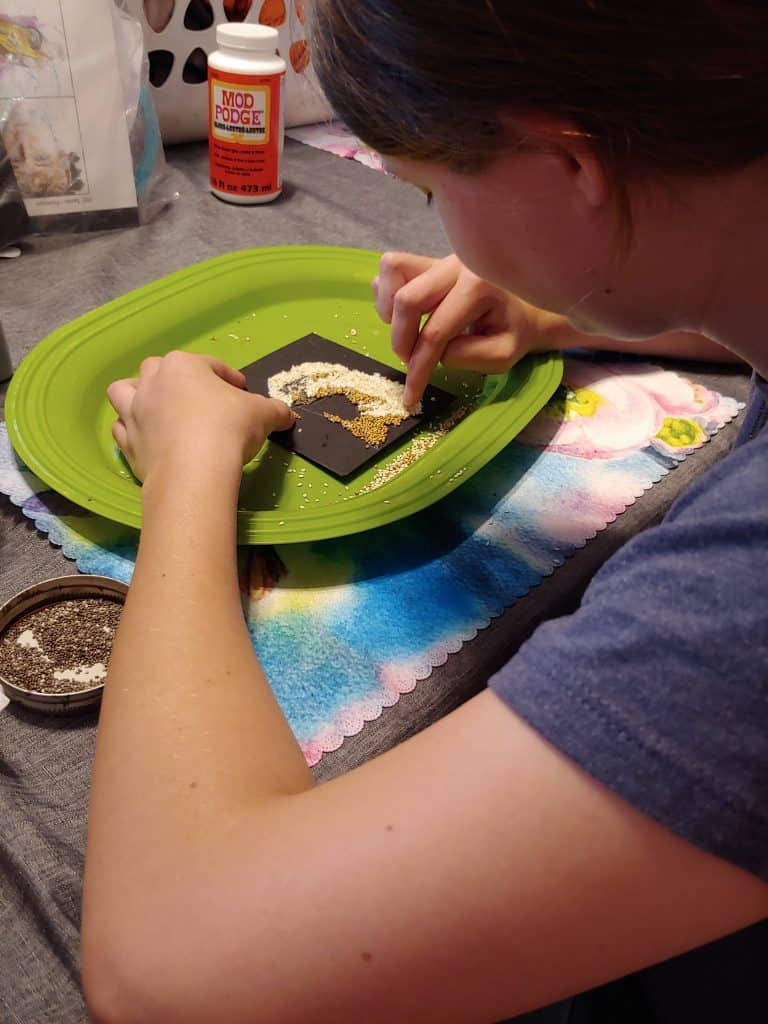 Working on eagle mosaic project from Creating a Masterpiece
