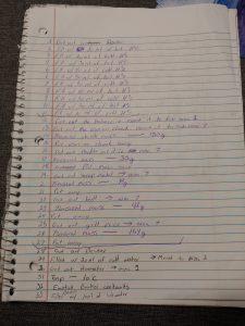 data sheet from Greg Landry's homeschool science class