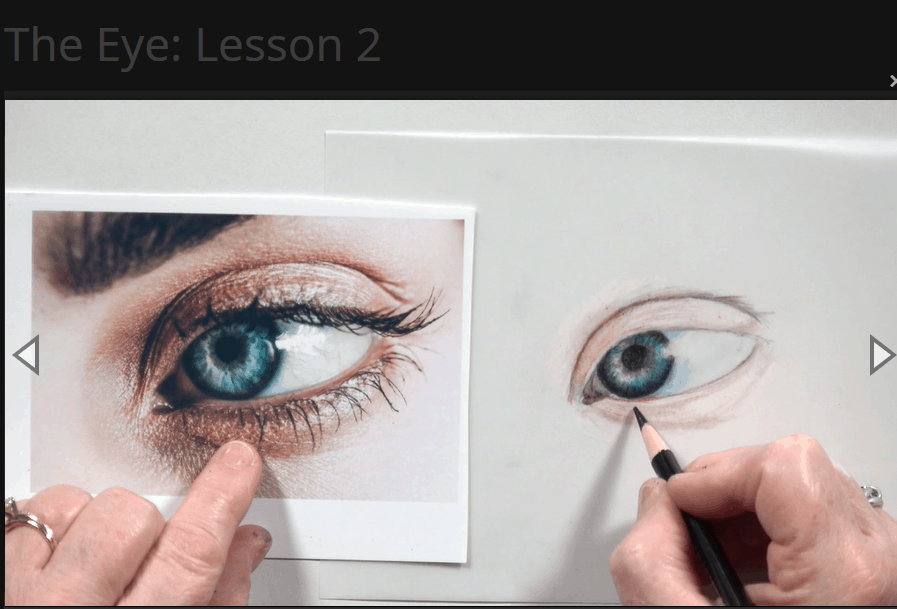 The eye lesson being taught step by step on Creating a Masterpiece