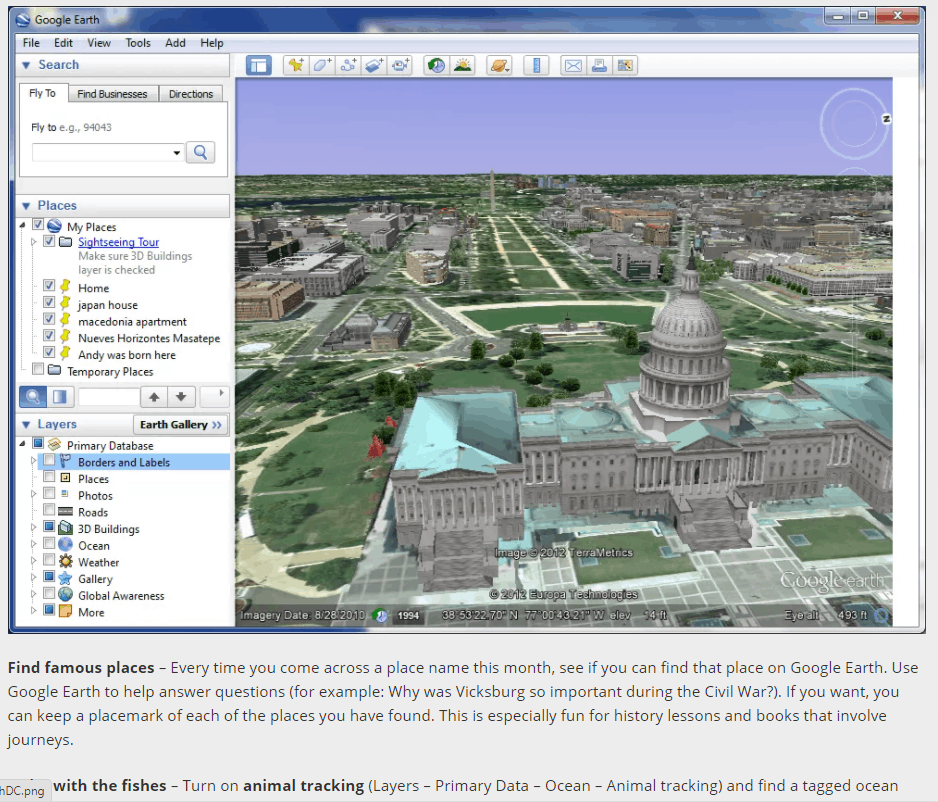 Studying geography with Google Earth from SchoolhouseTeachers.com